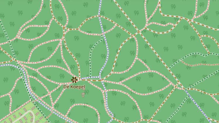 Plattegrond van het Luntersche Buurtbosch, met de bladvormige paden.