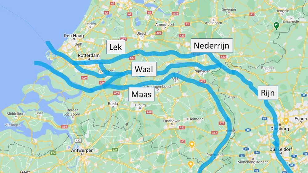 Overzixht van de loop van de Rijn, Maas, en Waal naar Rotterdam