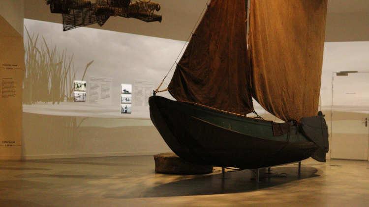 Boot (griendark) als onderdeel van de expositie in het Biesbosch Museum