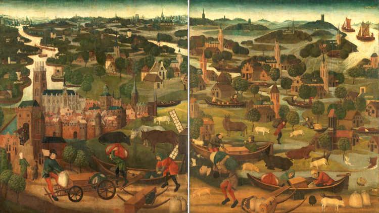 Schilderij van omstreeks 1500 over de Sint-Elisabethsvloed.