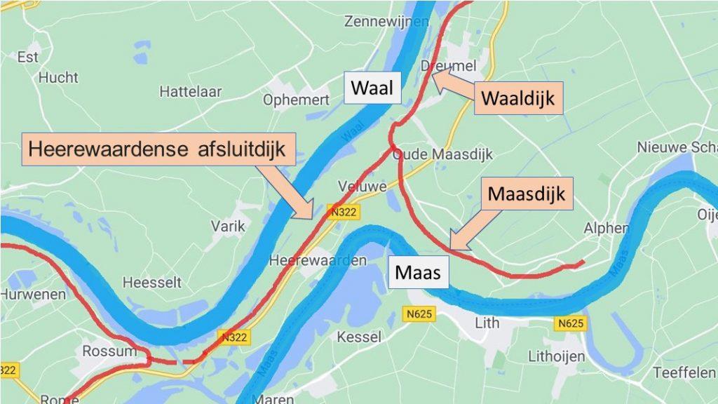 schematische weergave van de loop van de Maas en de Waal
