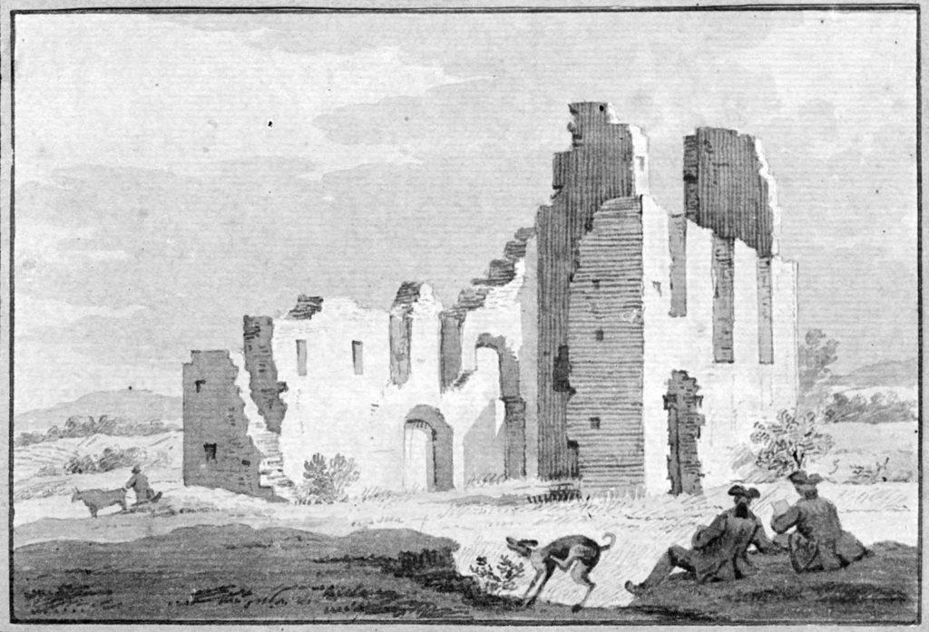 De ruïne van de Sint-Walrickkapel in de 18e eeuw